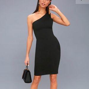 Lulu's One Shoulder Bodycon Midi Dress